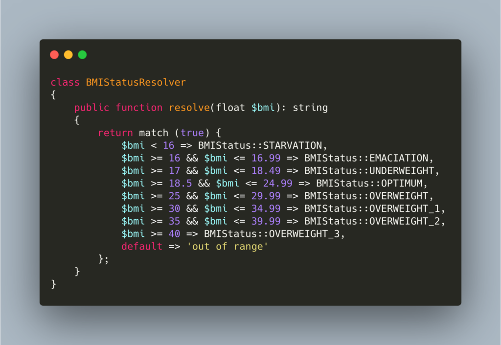 Match expressions PHP 8 example